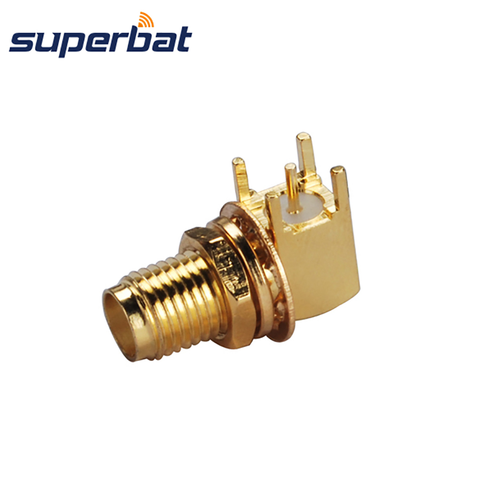 Superbat RF Coaxial Connector SMA Thru Hole Female Jack Bulkhead Right Angle PCB Mount Short Version