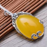 Waterdrop Calcedonia Amarilla 925 de Plata Esterlina Marcasita Retro Collar Pendiente de Las Mujeres de Plata Tailandés de Regalo de Joyería Fina CH057451