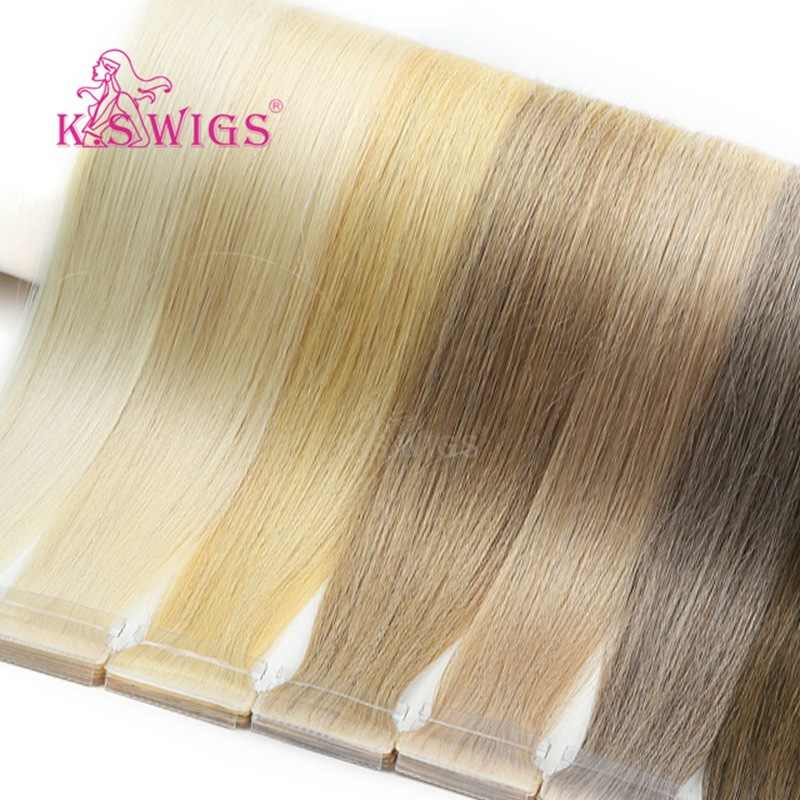 K.S WIGS 100pcs/pack Remy Hand Tied PU Skin Human Hair Double Drawn Straight Tape In Human Hair Extensions 16'' 20'' 24''