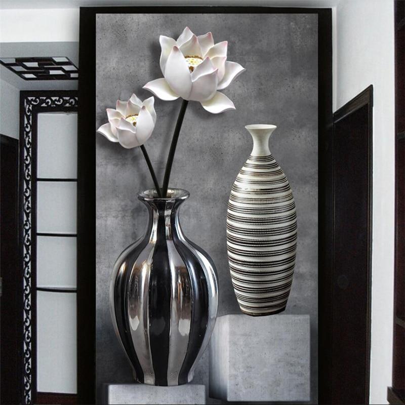 Купить с кэшбэком wellyu HD black and white lotus vase 3D entrance wall custom large mural wallpaper papel de parede para quarto