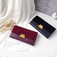 Women Wallets Genuine Leather Nubuck Leather Wallet Long Design Clutch Casual Lady Cash Purse Women Hand