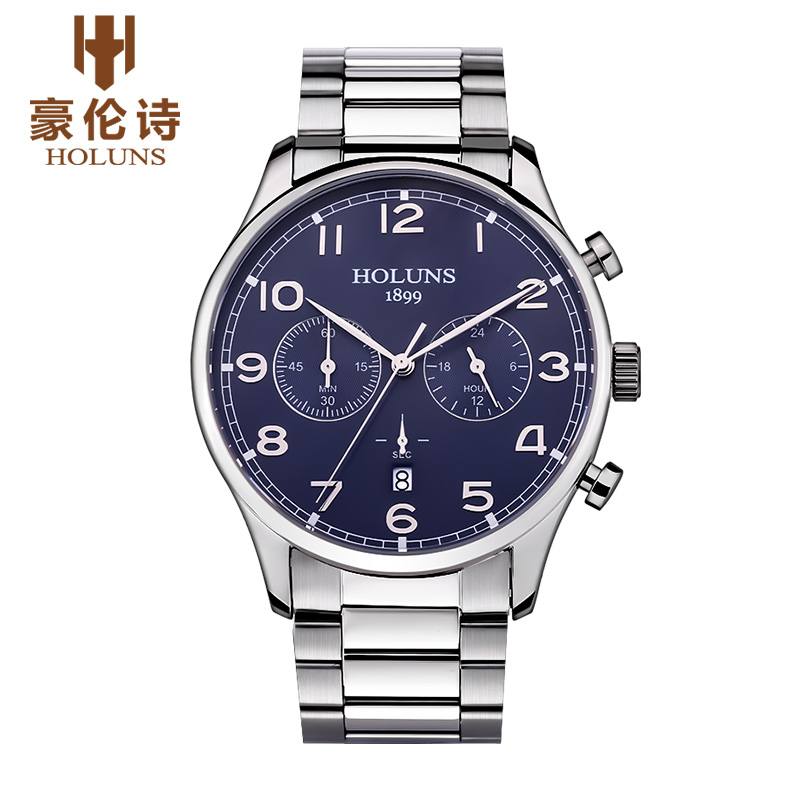 Luxury Brand HOLUNS Chronograph Men's Date Function Quartz Watch Full Stainless Steel Men Business Wristwatch Reloj Hombre