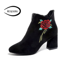Фотография Woman 2017 autumn new  flower embroidery boots  pattern short boots comfortable Martin boots suede high-heeled boots