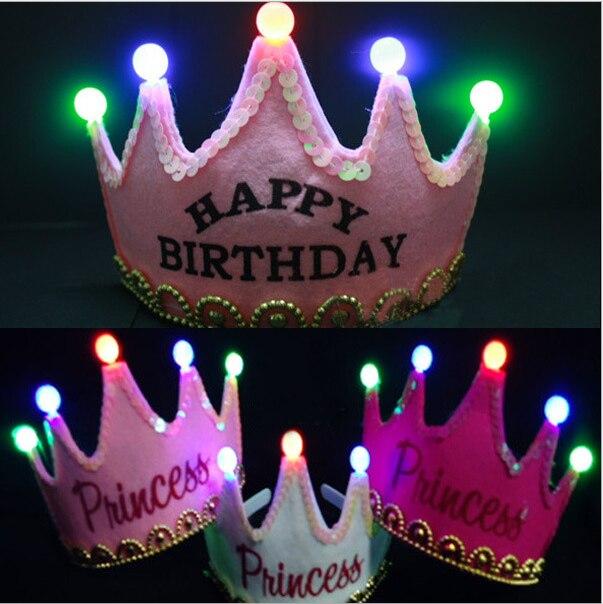10ks / lot 5Leds Zářící princezna Všechno nejlepší k narozeninám Tiara Koruna Čelenky Novoroční pokrývky hlavy Děti Party upřednostňuje hračku