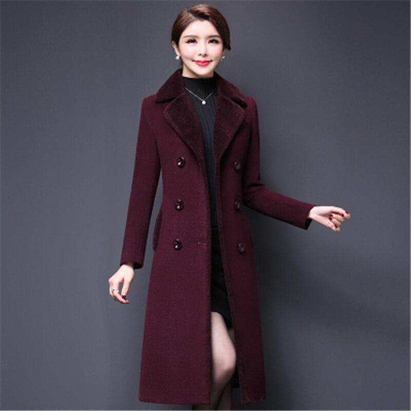 Hiver Qualité Manteau Mince Cachemire Z254 Femmes coffe Boutonnage Mi Nouvelles Vestes À Section Purple Mode Double De Haute 2018 Automne Laine Longue dTn4dUE