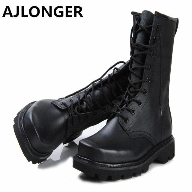 Male Genuine Leather Boots Men Shoes color: Black
