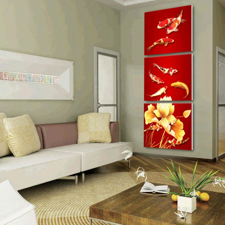 Framed 3 Panel Large Chinese Feng Shui Koi Fish Canvas Art Painting Wall Picture Home Decor