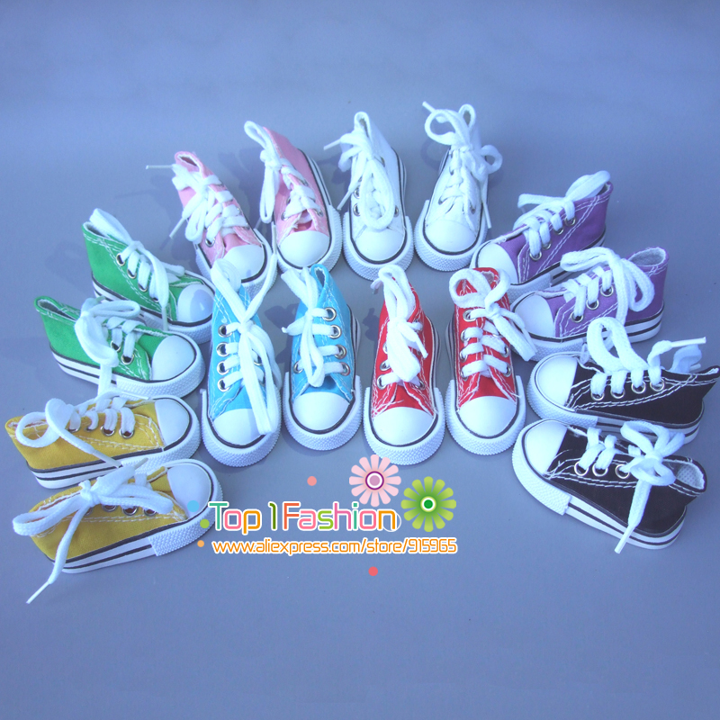 1 pair Assorted Colors 7.5cm Canvas Shoes For BJD Doll Fashion Mini Toy Shoes Bjd Doll Shoes for Russian Doll Accessories uncle 1 3 1 4 1 6 doll accessories for bjd sd bjd eyelashes for doll 1 pair tx 03