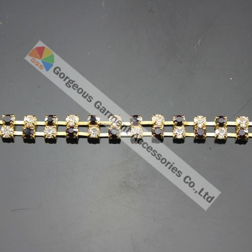 3 м 2 ряда Аметист ясно альтернативный Чешский хрусталь горный хрусталь Кубок цепи SS16 4 мм Камни цвета: золотистый, серебристый для DIY browband аксессуары