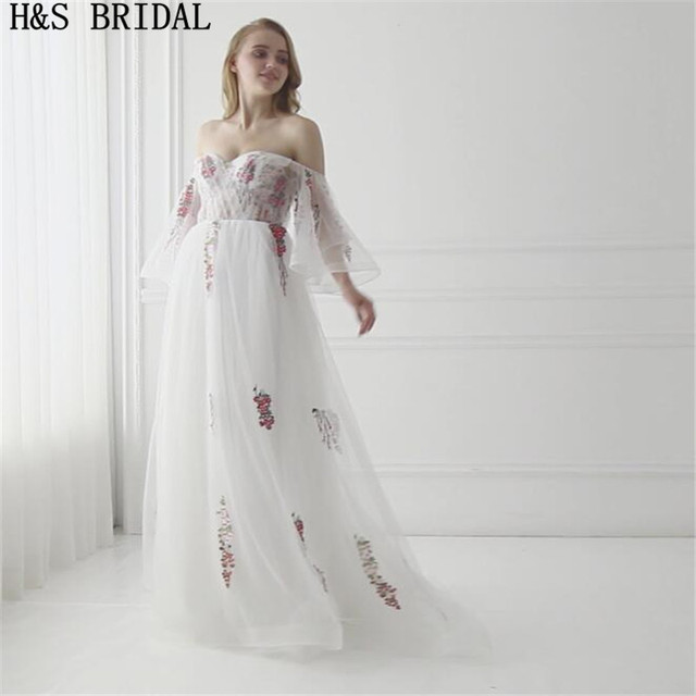 006c27e8eeb H S BRIDAL Sweetheart Short Sleeve Evening Dress Tulle Embroidered Lace  Applique evening dresses long 2017 Lace