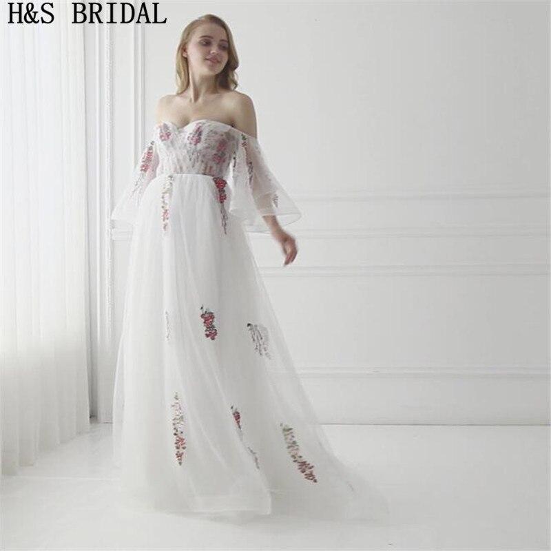 H & S mariée chérie manches courtes robe de soirée Tulle brodé dentelle appliques robes de soirée longues 2017 à lacets robe de soirée