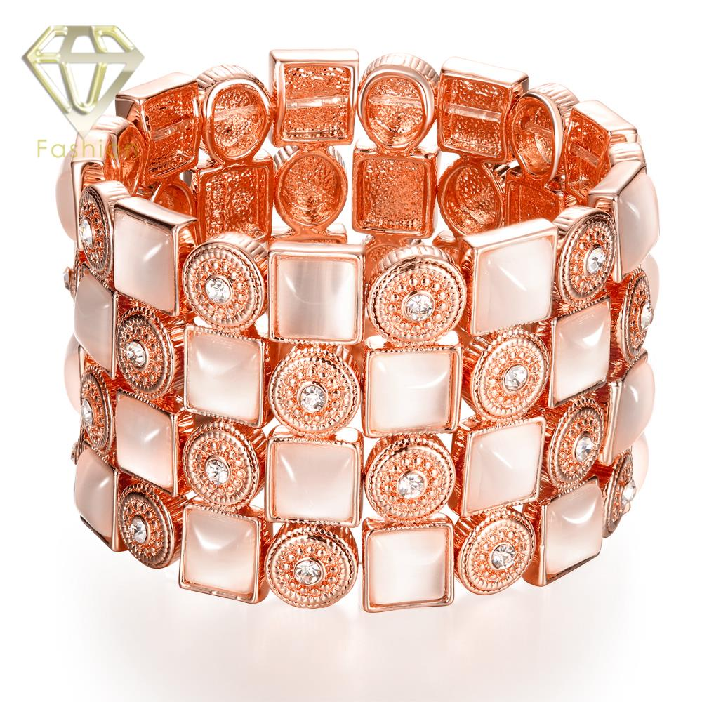 Fashion Rose Gold Color with Luxury Crystal Opal Stone Round Square Elastic Strand Bracelet Bangle for Women Jewelry