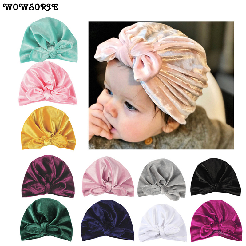 OLN Solid Indian Hat Winter Toddler Knot Bow Caps Cotton Velvet Newborn   Skullies     Beanies   Warm Baby Hats OLN055H
