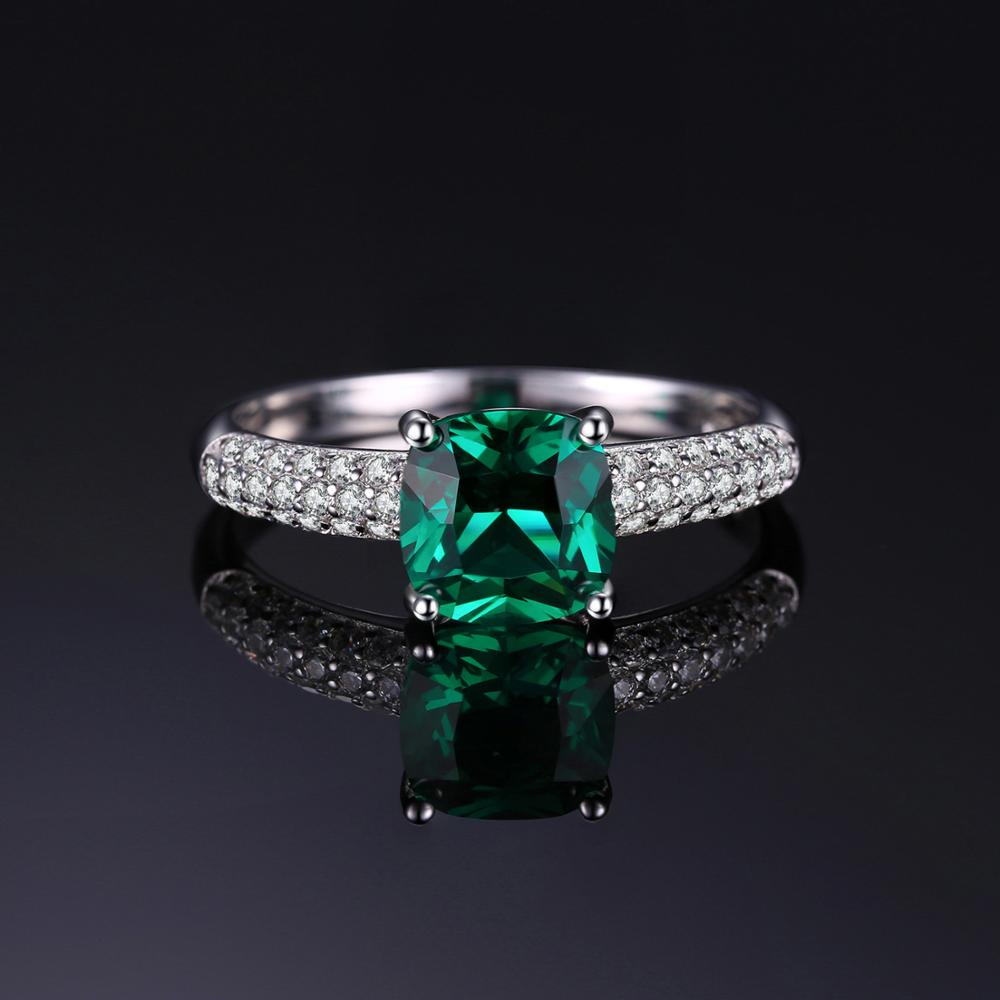 JewelryPalace Cushion Created Nano Emerald Ring 925 Sterling Silver Rings for Women Engagement Ring Silver 925 JewelryPalace Cushion Created Nano Emerald Ring 925 Sterling Silver Rings for Women Engagement Ring Silver 925 Gemstones Jewelry