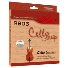 1 Set Original Alice Professional Cello Strings Stranded Steel Core Nickel Chromium Wound Nickel-Plated Ball-End A806