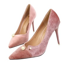 New Europe fashion Sexy fine Heel Pointed toe women pumps shoes Flock pearl cout-outs women High heels shoes Was thin party pump