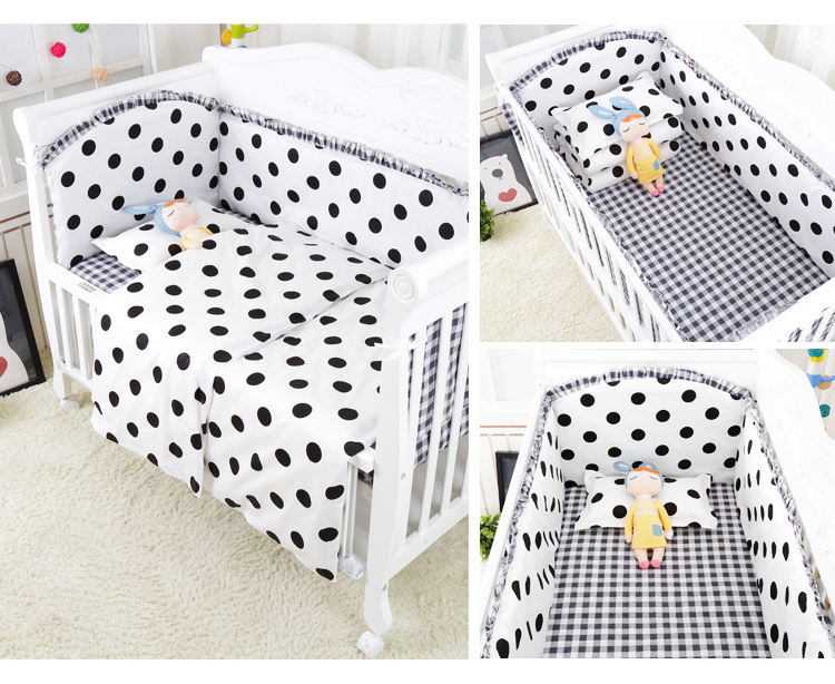 Promotion! 6/9PCS Dot baby crib bedclothes kids bedding cribs cot nursery bedding Crib Newborn Baby Bed Linens whole setPromotion! 6/9PCS Dot baby crib bedclothes kids bedding cribs cot nursery bedding Crib Newborn Baby Bed Linens whole set