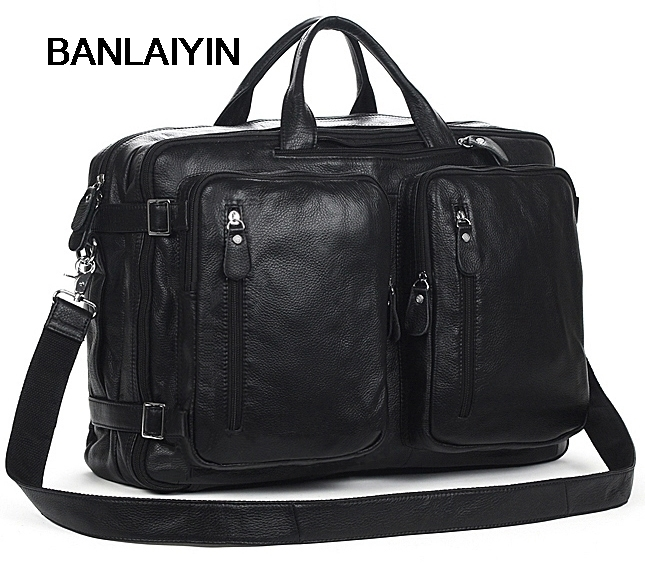 Cowhide Genuine Leather Men's Messenger Bag Large Crossbody Bag Leather Messenger Bag Big Shoulder Bag Men Tote Handbag Black genuine leather bag cowhide shoulder men