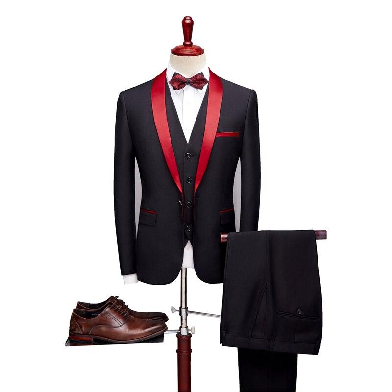 Coton Vêtements De Robe Blazer Slim Fit Designer Costume Stade Mode Affaires pièce 2019 Trois Mariage Black red Chanteur Nouveau Formel w8XxIYnqCT