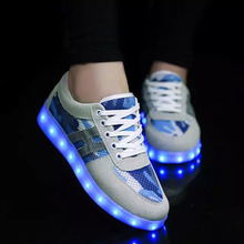 2016 Men Fashion Luminous Shoes  Casual Flash Shoes Led Lights Usb Charging Colorful Shoes With Light Up Mixed Colors