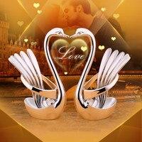 Vajilla de belleza romántica  juego de cubiertos de cisne  vajilla de acero inoxidable  vajilla  vajilla  juego de cena  cuchara de fruta  tenedores