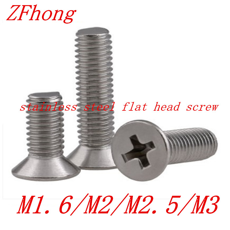 100pcs M1.6 M2 m2.5 m3 stainless steel phillips flat countersunk head machine screw 25pcs 304 stainless steel countersunk head phillips screws phillips flat head screw m5 10