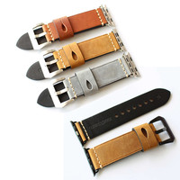 38 42mm Genuine Leather Watchband Retro Replacement Wristband Strap With Pin Buckle For Apple Watch For