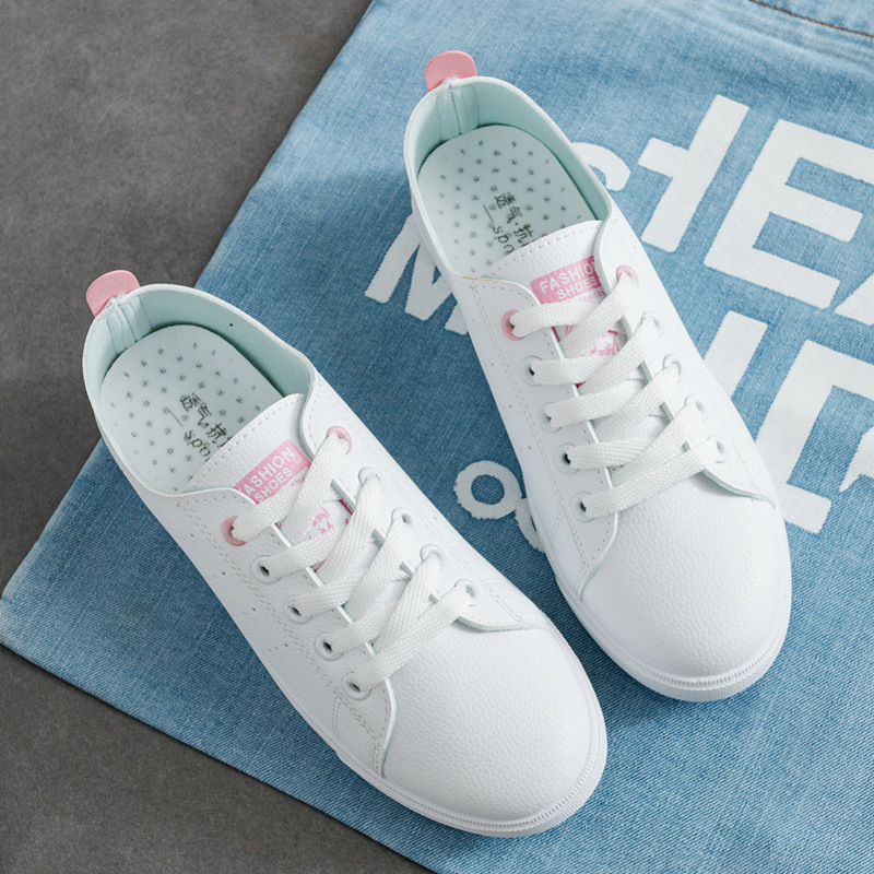 White Shoes Woman 2019 New Fashion Pu Leather Casual Women Shoes Breathable Female Shoes Tenis Feminino Lace-up Sneakers Women
