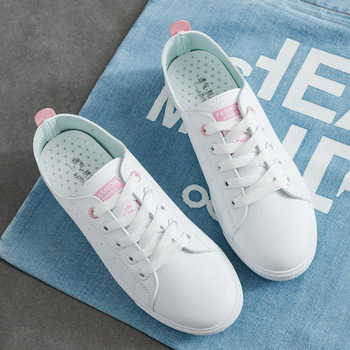 White shoes woman 2020 new fashion pu leather casual women shoes breathable female shoes tenis feminino lace-up sneakers women