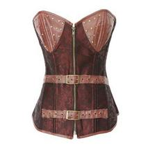 2016 New Arrival Coffee PU Patchwork Steampunk Women Corset Ladies Fashion Slim overbust Bustier Girls Sexy Bustiers Plus Size