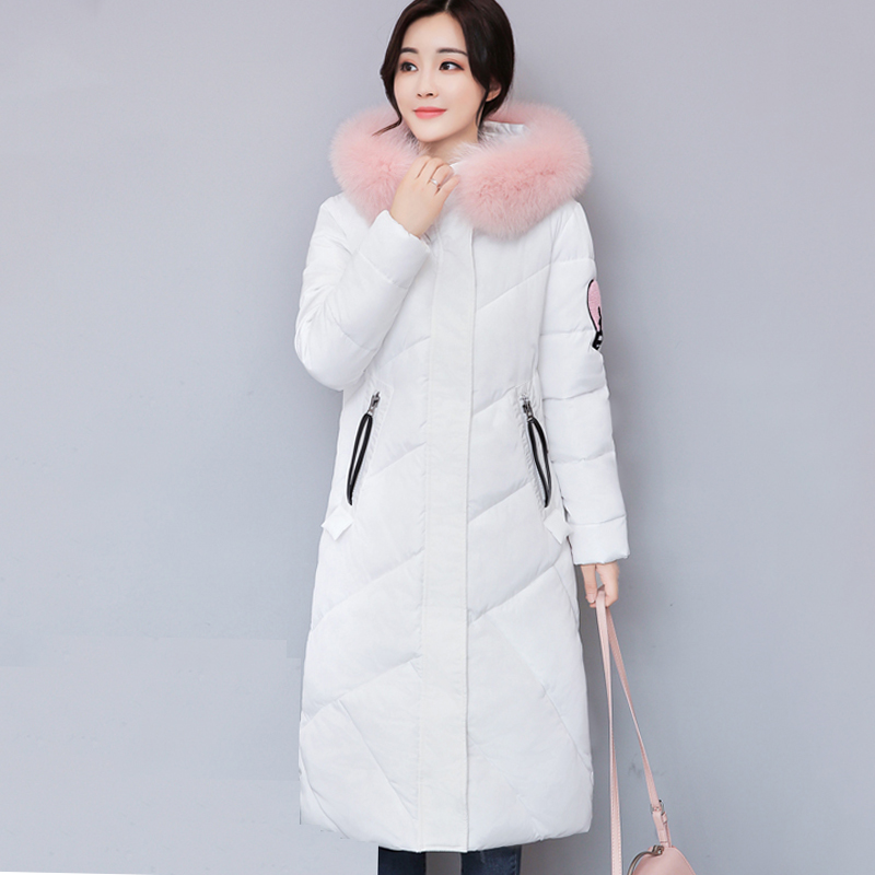 Fur Collar Hooded Long Women Winter Jacket Solid Cotton Padded Warm Casaco Feminina Inverno Cartoon Print Female Coat Parka thick warm long winter jacket women parkas 2017 fur collar hooded cotton padded winter coat female casaco feminino invero