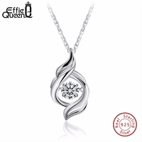 Effie Queen 100 Real 925 Sterling Silver Necklace White Cubic Zirconia Necklaces Pendants Women Jewelry BN11