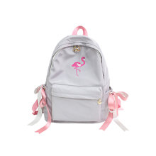 cute little girl bag sack fashion scool backpack beach bag embroidery flamingo rucksack frau children back bag zaino nylon donna(China)