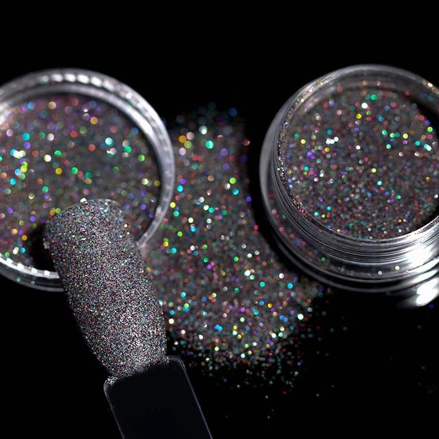 2 גרם\קופסא הולוגרפי גליטר הניצוץ אבקת סוכר מניקור אמנות קישוט 8 צבעים גליטר אבק אבקה