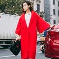 Женщины Свободный Стиль Бренда Дизайн Леди Люди Одеваются Длинный Плащ Пальто шерсти Шерстяная Ткань Пальто Красный Плюс Размер Свадебные Платья Бренда качество