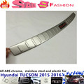 For Hyunda1 Tucson 2015 2016 Car body External Rear Bumper trim Stainless Steel Scuff plate pedal cover threshold*luxurious*1pcs