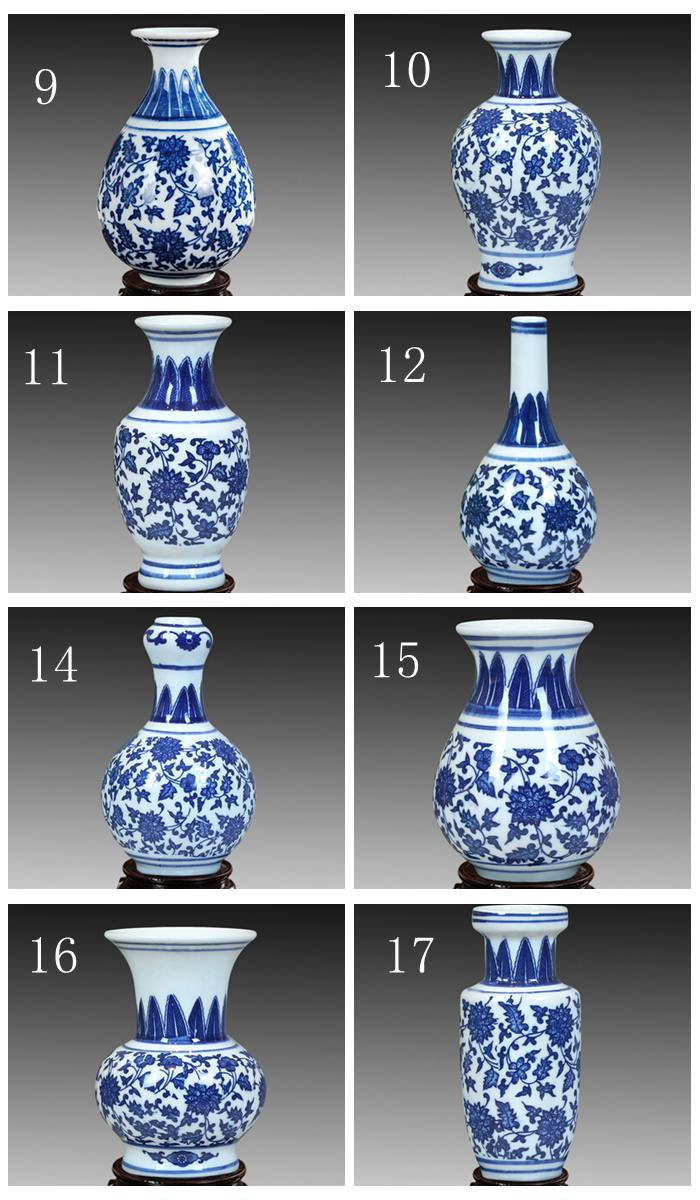 Us 62 99 Mini Blue And White Porcelain Small Vase With Qing Qianlong Mark Six Vases One Wooden Shelf Price In From Home Garden On