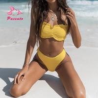 Pacento 2018 Sexy White Yellow Bikinis Set Swimsuit Female Beach Thong Bikini Bottom Bandeau Biquini Ruffle Bathing Suit
