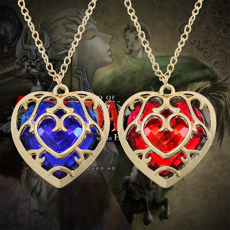 2017 New Fashion Movie Jewelry The Zelda Legend Heart-Shaped Crystal Pendant Necklaces Hollow Gold Frame Choker Necklace