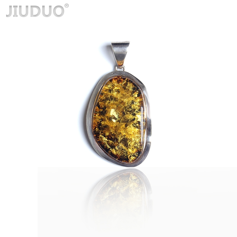 Poland Direct mail necklace pendant jewelry female wax inlaid silver gold-plated amber beeswax original stone original stone