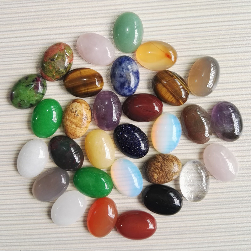 Wholese 100pcs/Lot Nature Stone mixed CAB CABOCHON Assorted jewelry Beads,Oval Shape,opal rose beads13x18mm
