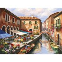 Высокое качество ручной работы пейзаж картина маслом венеция цветок Рынок на канал современного искусства итальянской деревне картины для
