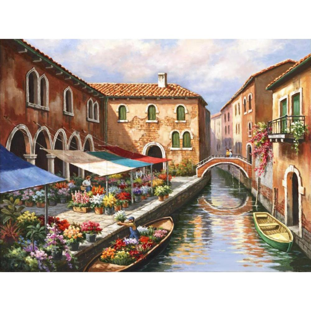 Us 112 8 20 Off High Quality Handmade Landscape Oil Painting Venice Flower Market On The Canal Modern Art Italian Village Picture For Home Decor In