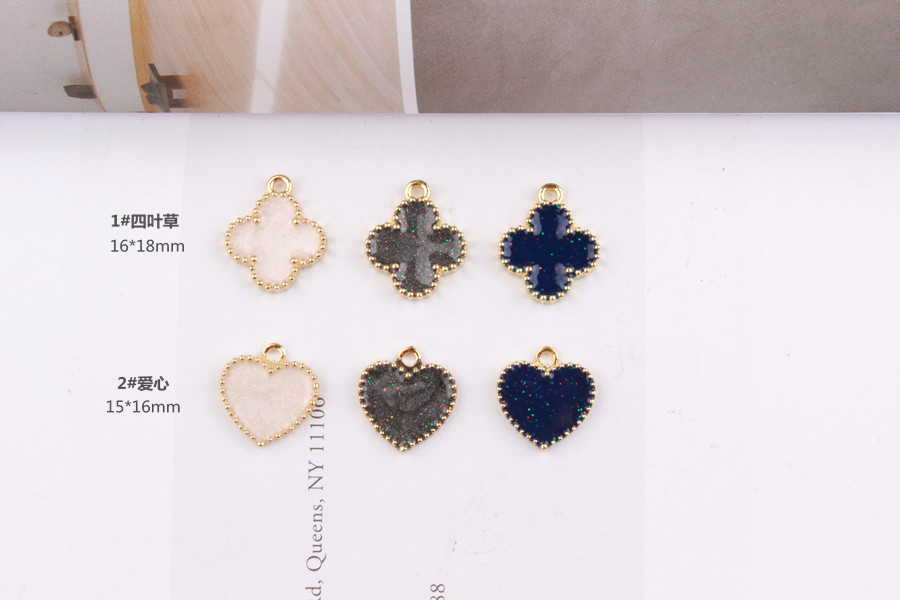 2017 New Style Alloy Drop Oil Gold Tone Cartoon Flowers Hearts Shape Metal Charms Diy Jewelry Earring Necklace Pendant Accessory In From