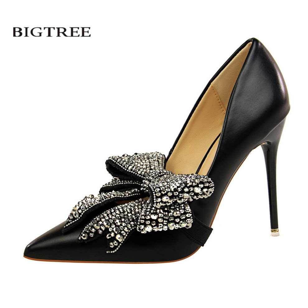 BIGTREE Elegant High Heels Shoes Women's Sweet Crystal High-Heeled Shoes Pointed Toe OL Party Rhinestone Bow Shoes G1717-9 bigtree summer shoes women elegant pumps pointed sexy ultra thin high shoes high heeled shoes hollow sweet stiletto g3168 3