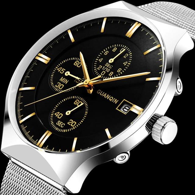 2018 nouveau GUANQIN Top marque de luxe montres hommes daffaires chronographe maille sangle horloge hommes de mode en acier Quartz montre bracelet