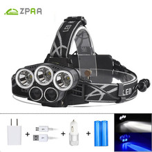 ZPAA 5 CREE LED Headlamp XML T6 Q5 Headlight 15000 Lumens Led Blue Light Head Flashlight Torch Emergency Light Fishing Hunting
