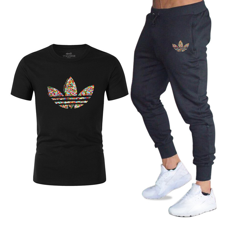 Summer Hot Running Suit T-shirt + Pants Two-piece Casual Sportswear Men 2019 Casual T-shirt Gym Fitness Trousers Male
