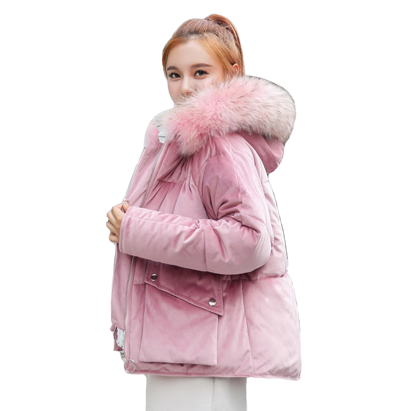 2019 New Fashion Winter Jacket Women Velvet Hooded With Fur Female Coat Short Outwear Womens Parka Abrigos Mujer Invierno 2019