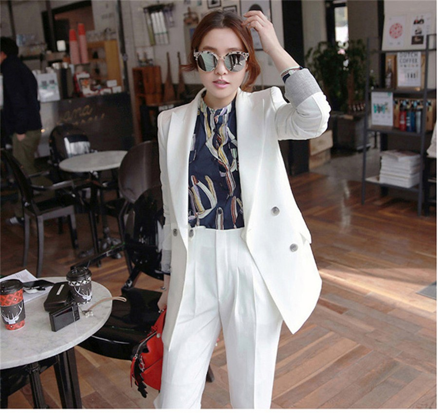 Two Pieces Sets Double Breasted Solid Blazer Jacket  Zipper Pant OL Suit Women Long Sleeve Business Suits